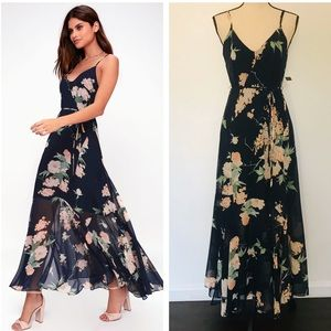 The Feeling Freesia Navy Blue Floral Maxi Dress